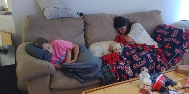 Both Of My Girls And Doggo Enjoying A Sunday Afternoon Nap.