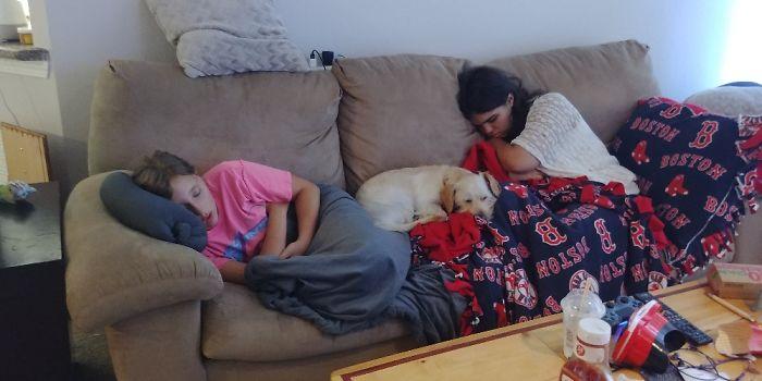 Both Of My Girls And Doggo Enjoying A Sunday Afternoon Nap.