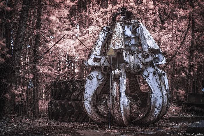 El cubo: parte de la máquina usada para limpiar el tejado del reactor que falló en la planta nuclear