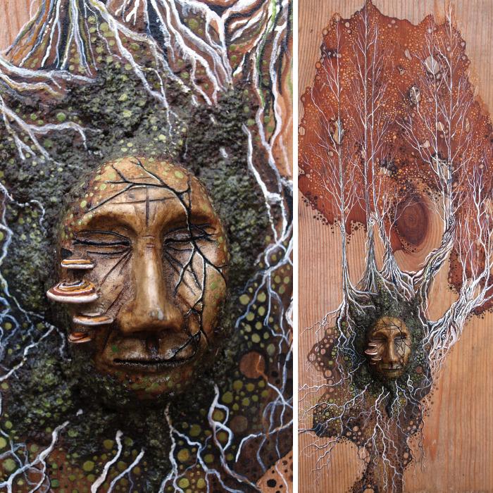 Mixed Media Tree Spirit Painting