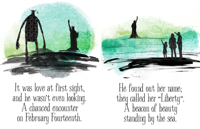 I Drew A Cute Love Story Between A Giant And The Statue Of Liberty, For Valentine's Day