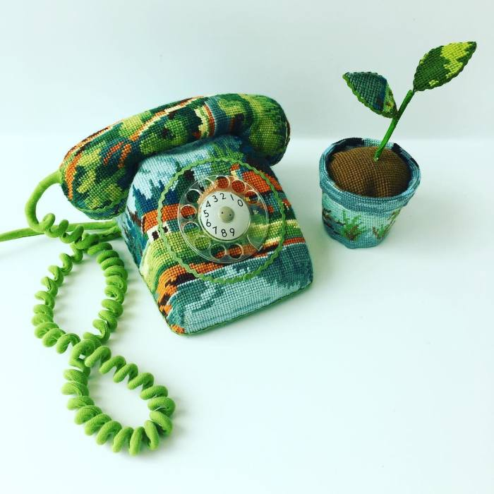 """Artist Gives A Second Life To Vintage Household Objects By """"Dressing Them Up"""" In Cross-Stitched Patterns"""