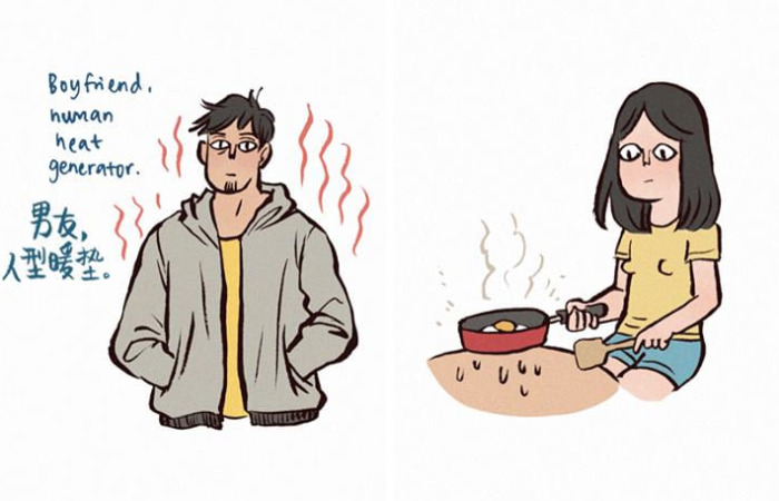 Illustrator Shows How Lovely Is To Live With A Giant Boyfriend