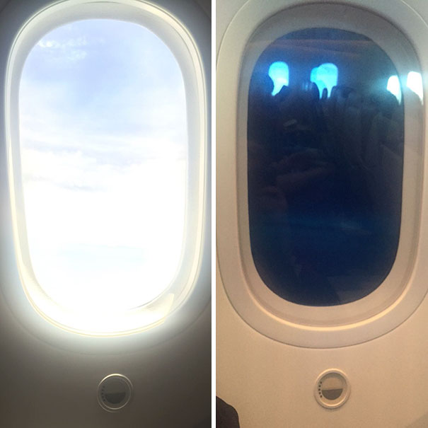 The Windows In This Airplane Can Be Tinted