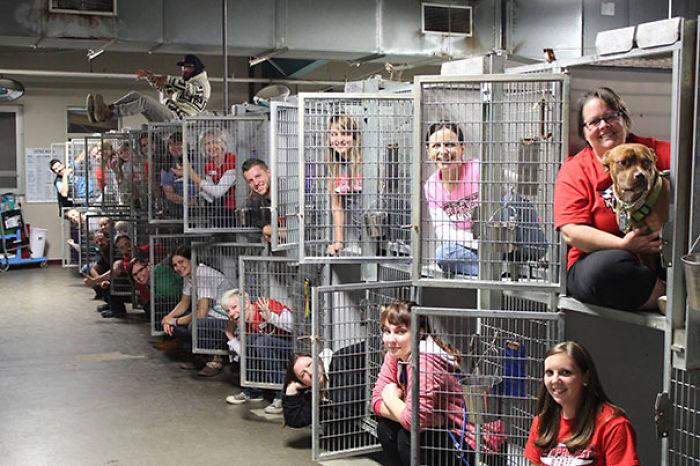 Este refugio de Kansas celebra que sus jaulas están vacías tras ser adoptados gran cantidad de animales en un fin de semana