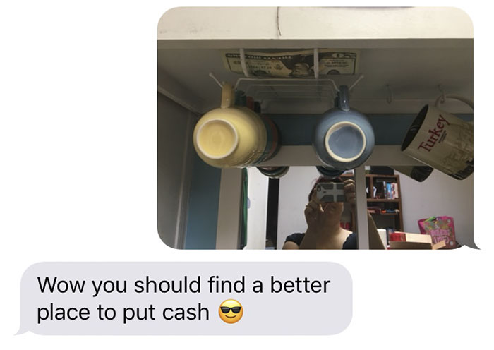 Dad Hides Money In His Daughter's House Whenever He Visits, And Here's Where She Found It So Far