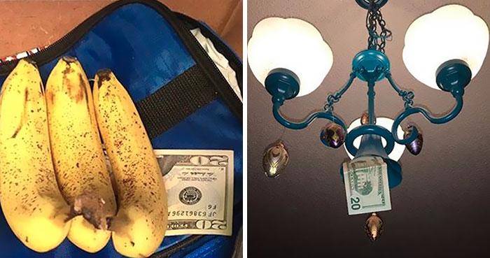 Este padre esconde dinero en casa de su hija cada vez que la visita, y algunos sitios son muy raros