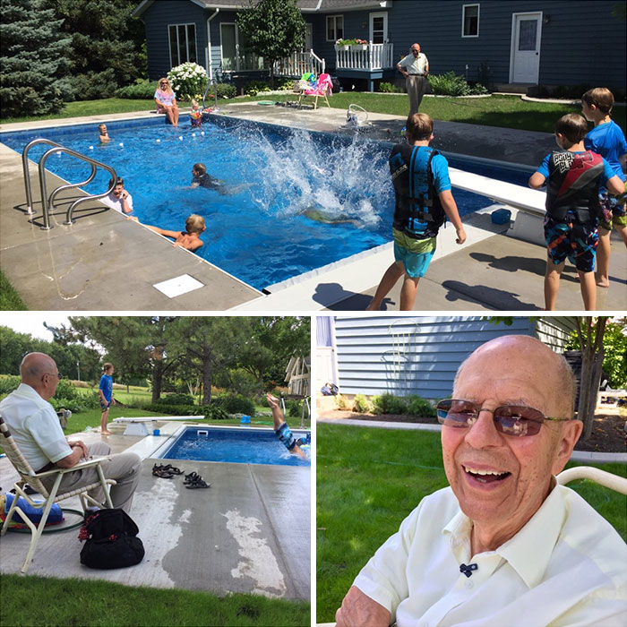 94 Year Old Keith Davison, Lonely After Losing His Wife Of 66 Years, Built A Pool For The Neighborhood Kids