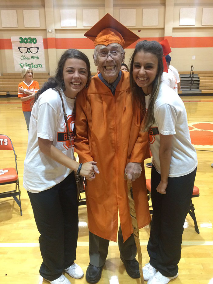 This 98 Year Old Man Never Got To Get His High School Diploma Because He Was Drafted In World War II His Senior Year And He Finally Got It