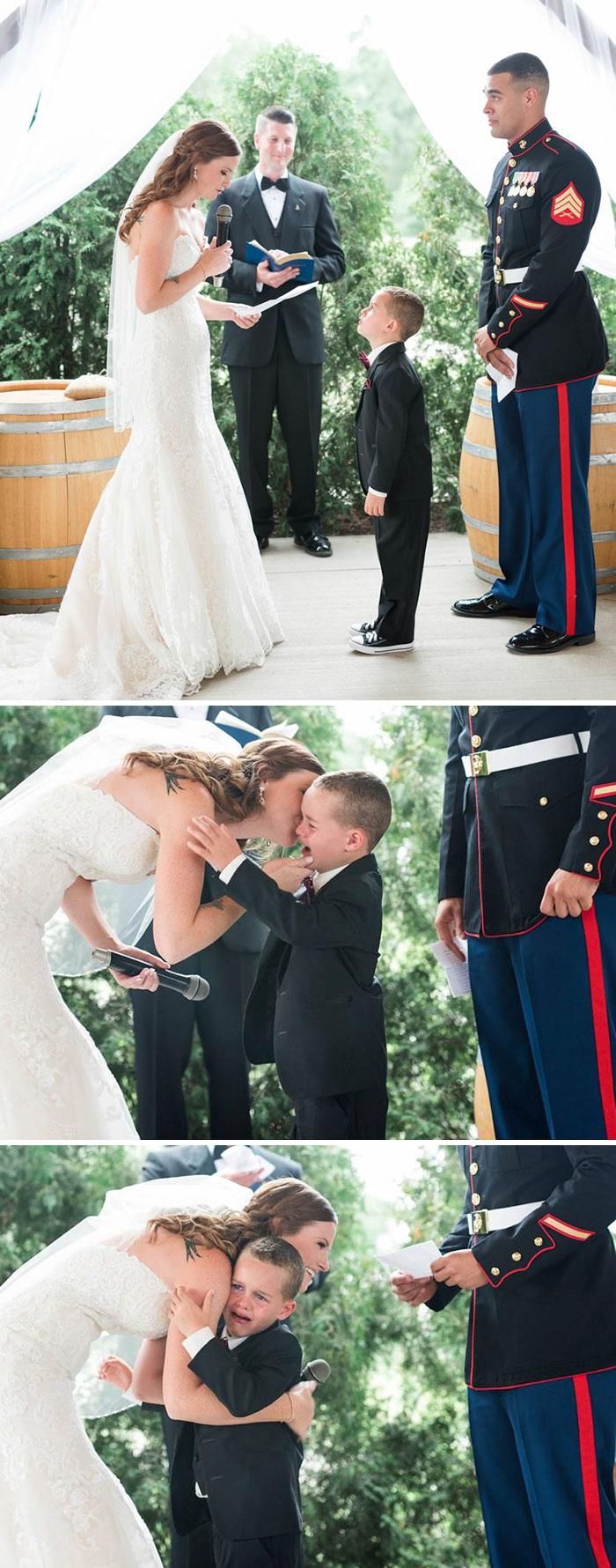 """""""La vida me ha dado el regalo que eres tú""""... El hijo de 4 años de este soldado llora tras oír los votos de su nueva madrastra"""