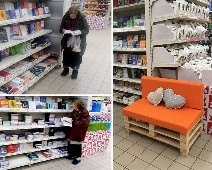 A esta anciana le gusta ir al supermercado a leer, así que el gerente le ha puesto un asiento