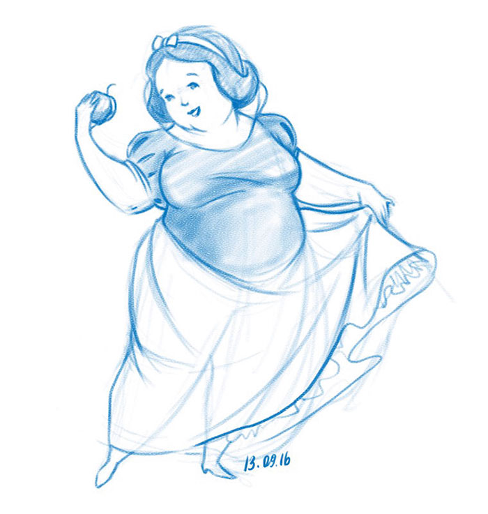 Illustrator Shows What Disney Princesses Would Look Like If They Were Chubby, And Here's The Result