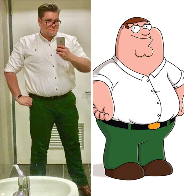 It Wasn't Until He Went To The Bathroom At Work That A Friend Of Mine Realised He Was Dressed Like Peter Griffin