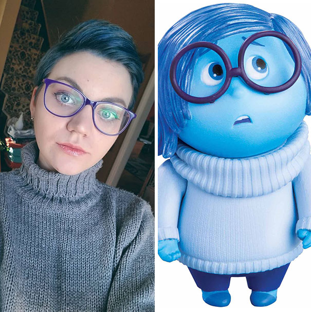 Dyed My Hair Blue And Realized I'm Dressed Just Like Sadness From Disney's Inside Out