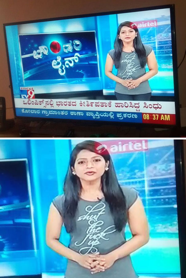 Bangalore Local News TV Anchor Forgets To Check Her T Shirt Before Going On Show