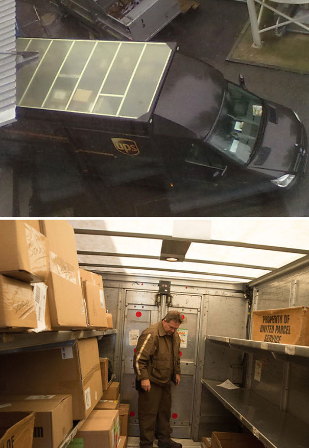The Roofs Of UPS Trucks Are Not Brown. They're Translucent So The Inside Of The Truck Doesn't Need To Be Lit During The Day