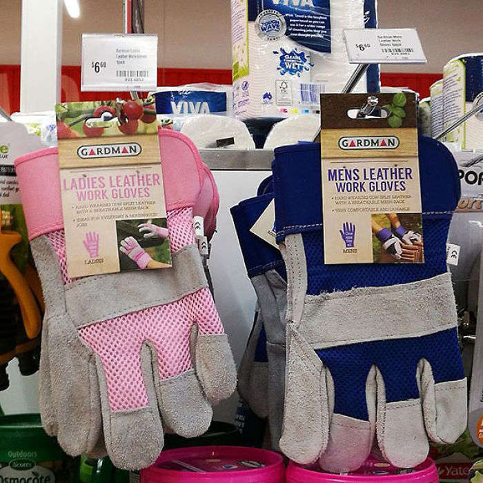 Thank Goodness Coles Stock Pink Ladies Work Gloves! Imagine What Would Happen If Ladies Had To Wear Blue Like Men