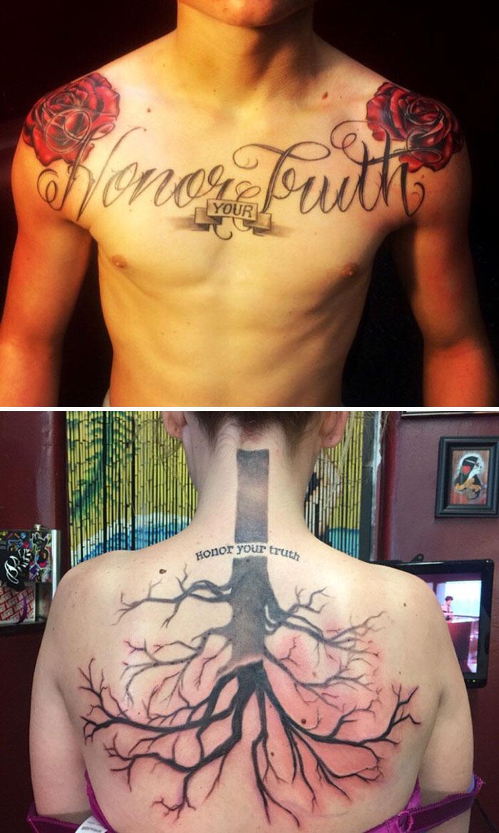 """Mi hermano fue asesinado en 2015. Tenía este tatuaje """"Honra tu verdad"""". Tras su muerte, plantamos un roble en su tumba. Este es el tatuaje que me he hecho para recordarlo"""