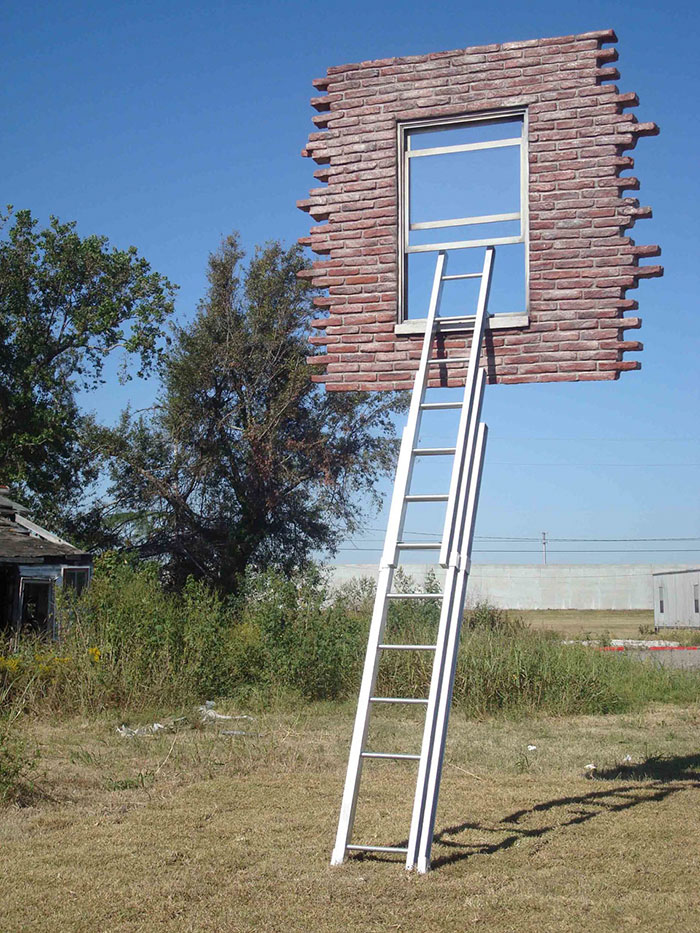 Window With Ladder - Too Late For Help By Leandro Erlich
