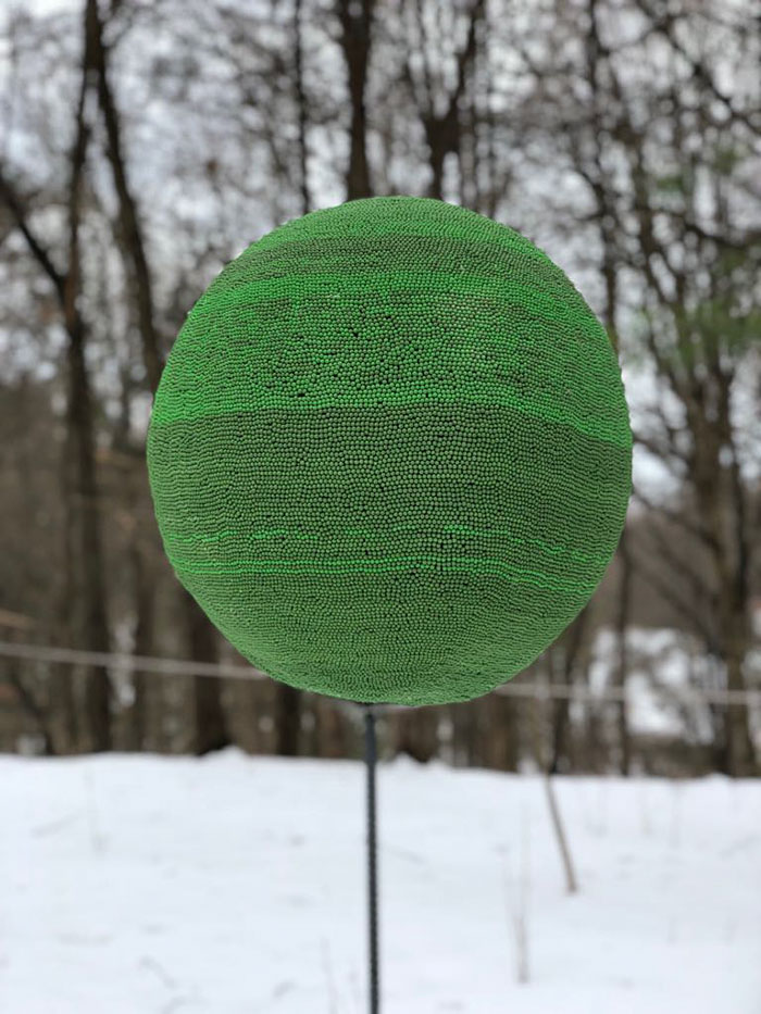 Guy Spends Almost A Year Gluing 42,000 Matches To Make A Giant Sphere, Sets It On Fire