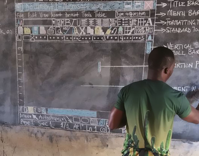 Teacher In Ghana Teaches 'MS Word' On Chalkboard, And You Have To See It From Up Close To Really Appreciate It