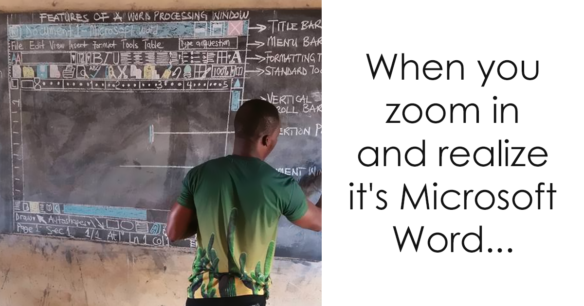 teacher in ghana teaches ms word on chalkboard and you have to