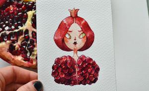 He pasado un par de meses reimaginando frutas y verduras como personajes en acuarela
