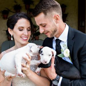 En vez de ramos de boda, esta pareja usó cachorritos rescatados, y las fotos son adorables