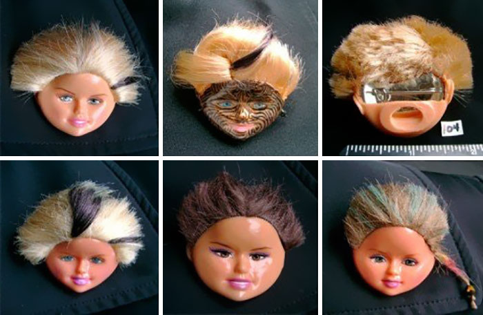 Severed Barbie Face Pins