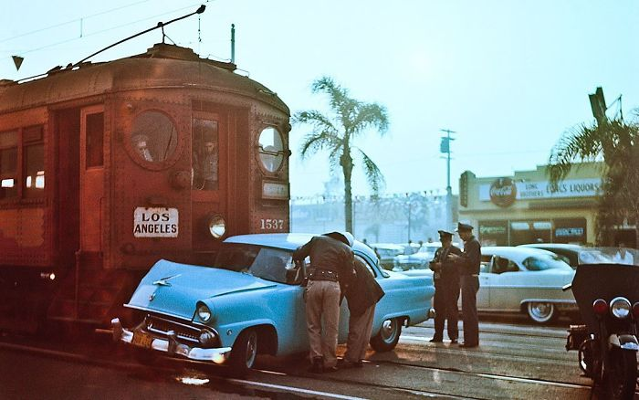 Collisions Of Ford And A Suburban Train. Los Angeles, 1955