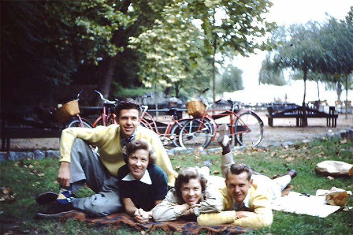 My Grandpa And His Older Brother Dated Twin Sisters For A Time During The Early 1950's. This Is Them Having A Lunch Date In Central Park, New York City