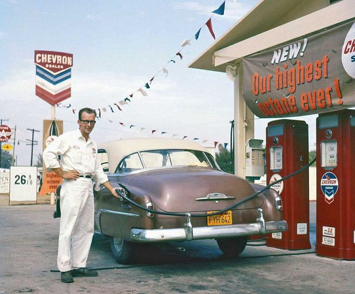 1950's Chevy Hardtop At A Chevron Station, 1957