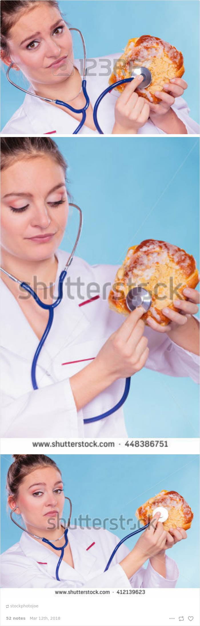 Disgusted Dietitian Nutritionist Checking Examine Sweet Roll Bun With Stethoscope. Because Why Not?