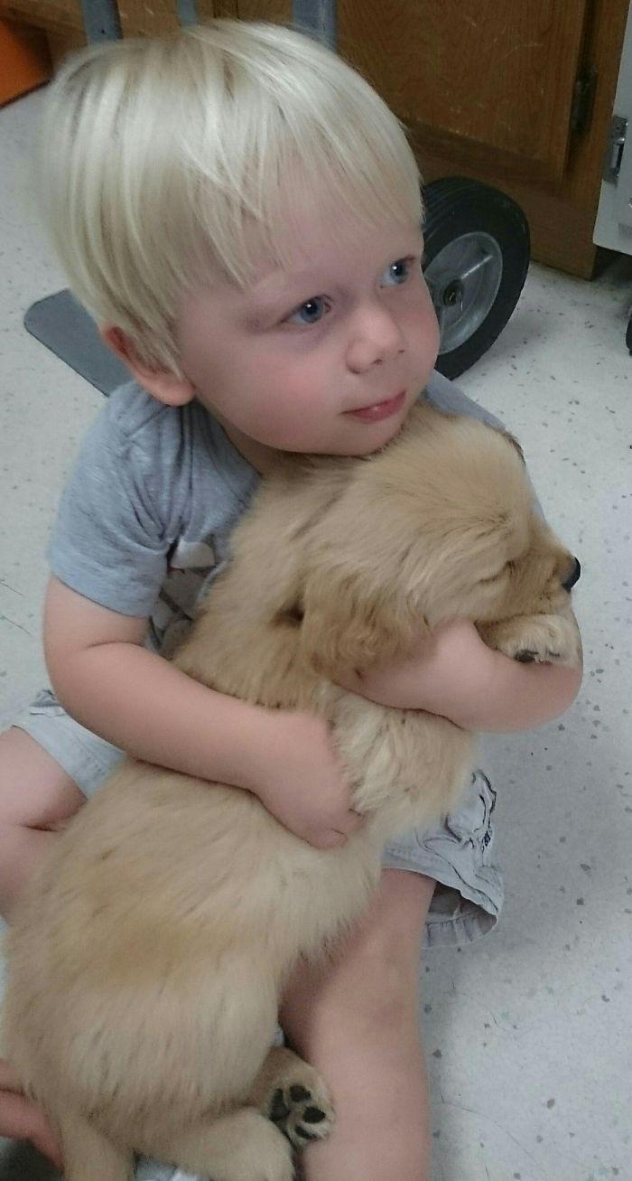 Meet My Son Lucas And His New Golden Retriever Puppy Bear