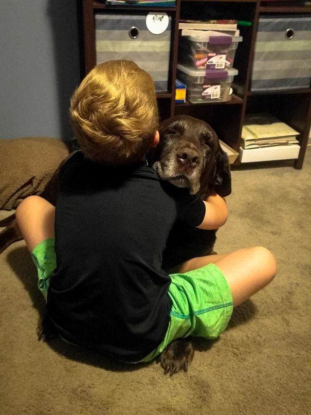 My Son's Always Been A Hugger. My Dog Wasn't Totally Comfortable With That At First, But He's Come Around