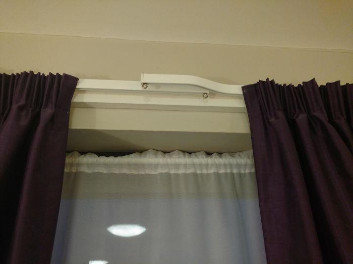 Diseño para colgar cortinas y que no quede una línea de luz en medio