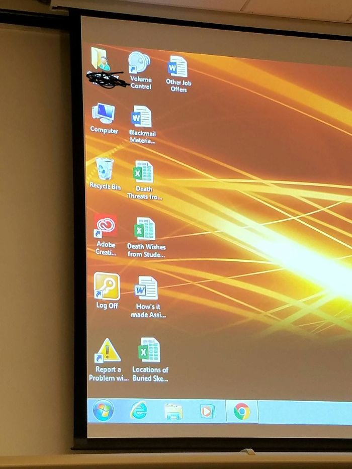 My Professors Desktop Before Our Final Exam