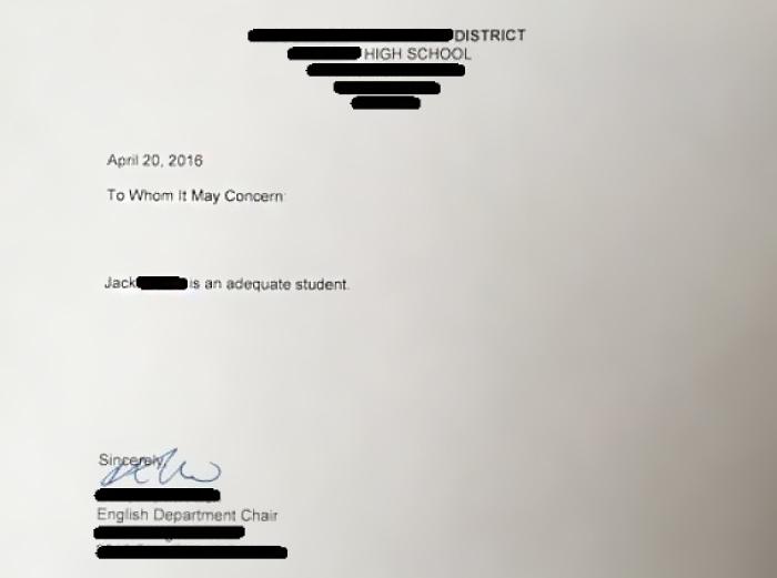Asked My Teacher For A Letter Of Recommendation..