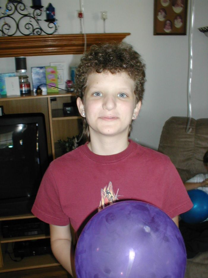 Curly Mullet, Thrift Store Boy's Anime Shirt, Inability To Look Normal For A Picture: 2003 Was A Cruel Year For This 11yo Girl