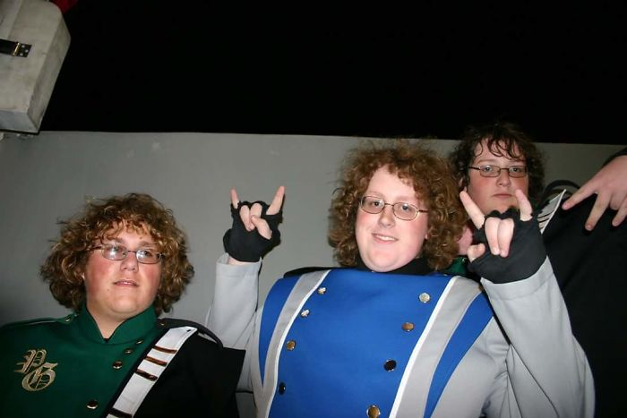 When My High School Marching Band Was Performing At The Liberty Bowl And I Ran Into Two Guys Who Looked Vaguely Like Me (I'm In The Middle)