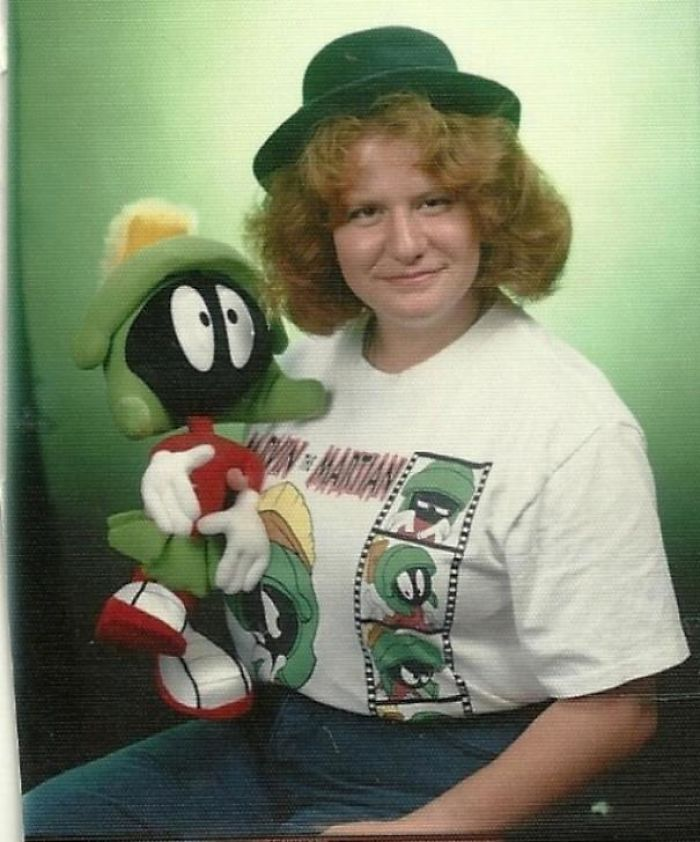 This Is What Happens When Dorks With Cartoon Obsessions Are Allowed To Bring Props To Their Senior Photo Session. Loved Marvin So Much I Used To Joke He Was My Real Dad, The Cringe Factor Is Astronomical