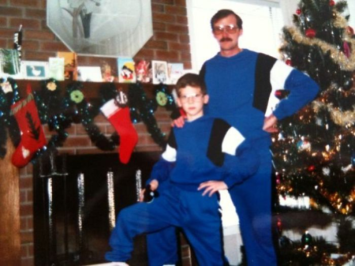 Nothing Says Cool Like Matching Sweat Suits And A Stuffed Whale On Your Knee
