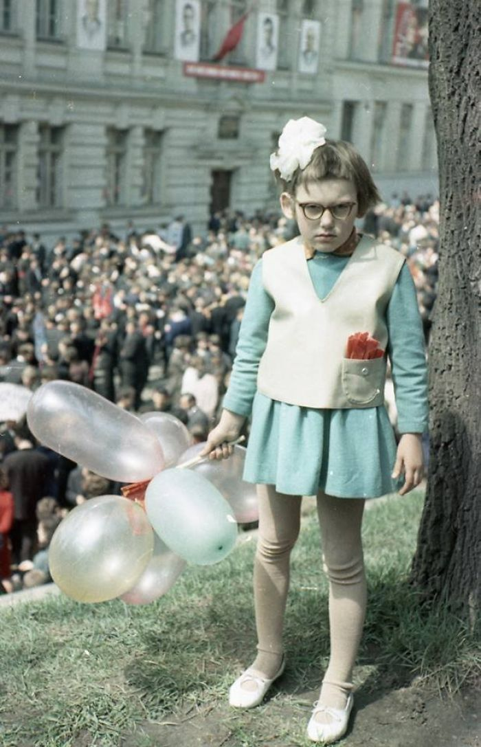Just A Girl On A Spring Communist Demonstration In Lviv, Ukraine, 1968