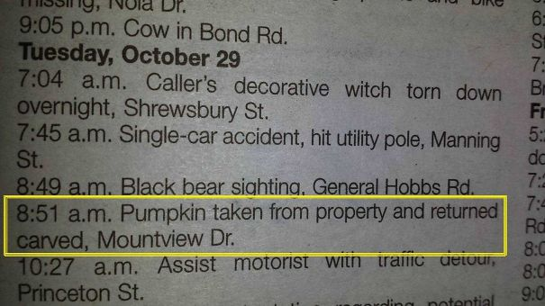 Small Town Police Log