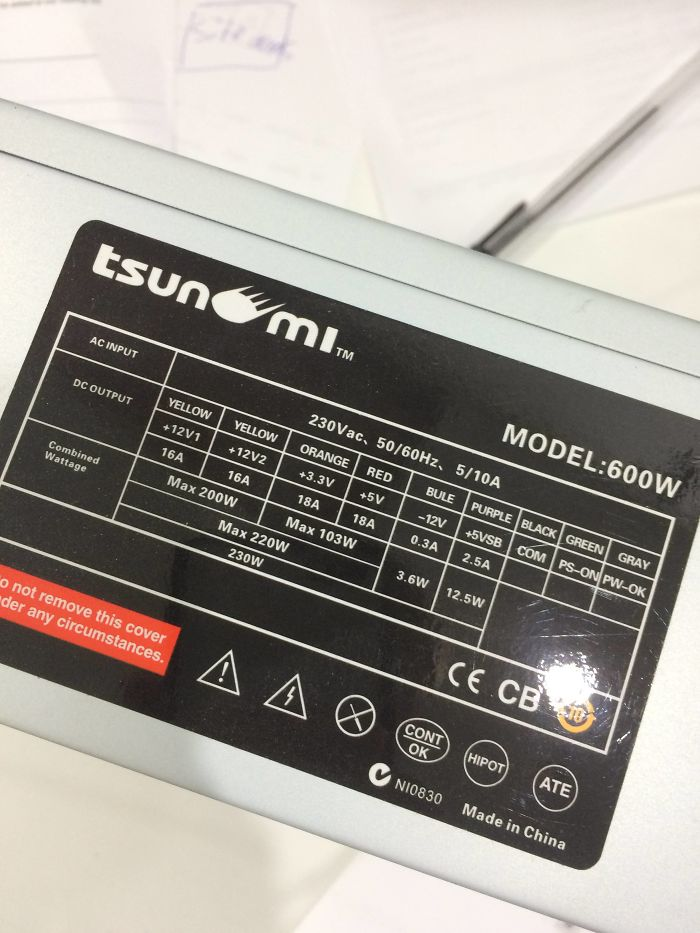 "Advertised As ""600W Power Supply""; Actually A 230W Power Supply With The Model Number ""600W"""