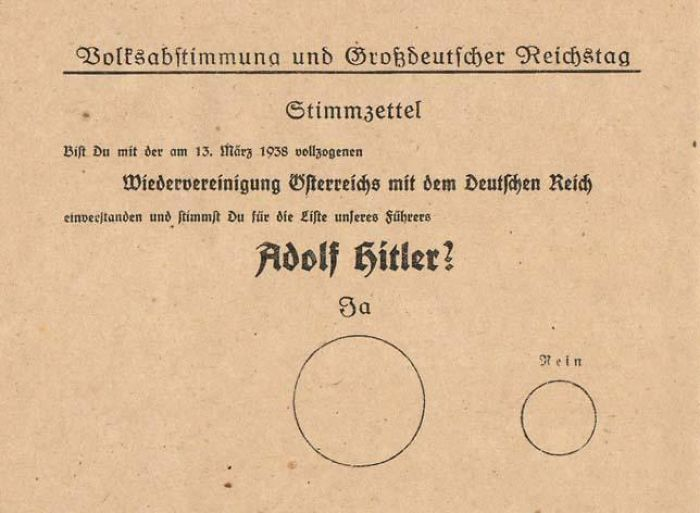 "The Nazi ""Nudge"" Ballot. The Large ""Ja"" Circle Indicates A Vote To Keep Hitler In Power, The Small ""Nein"" Is A Vote Against"