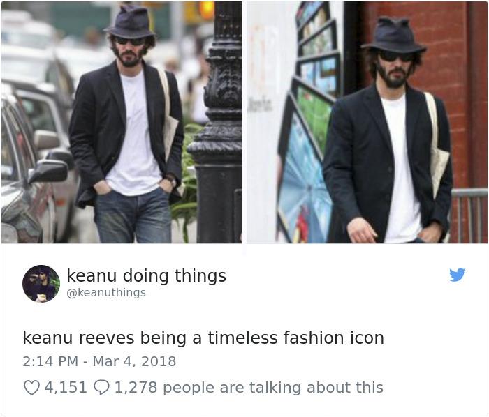 Keanu siendo un icono de la moda atemporal