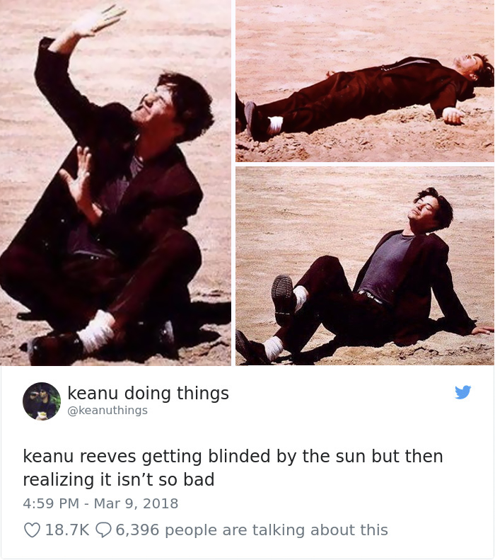 Keanu Reeves cegado por el sol pero notando que no está tan mal