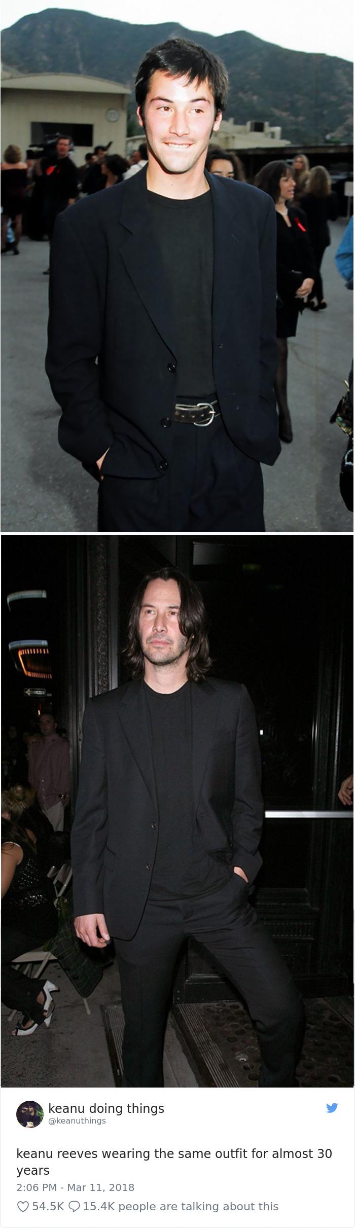 Keanu Reeves llevando el mismo traje durante casi 30 años