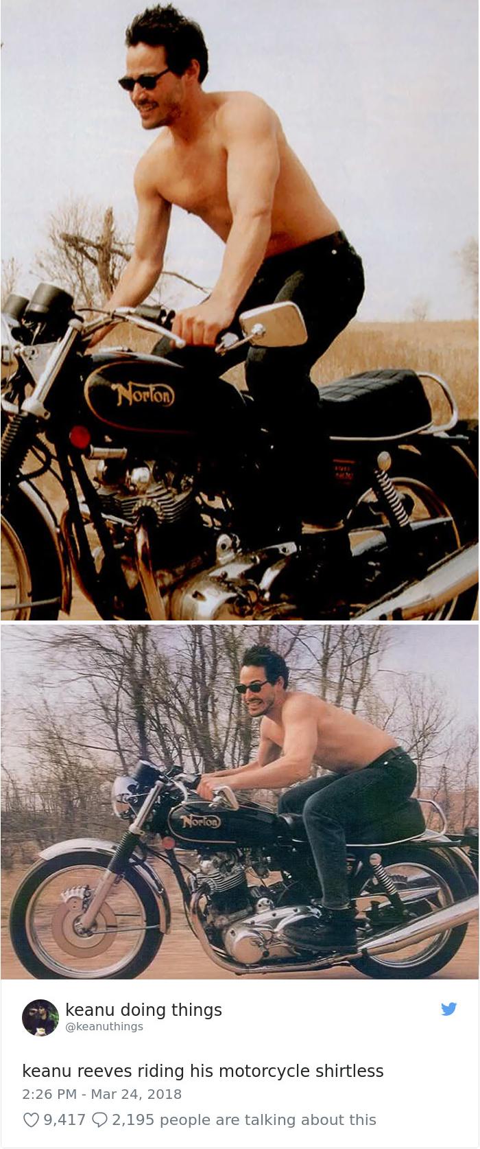 Keanu montando en su moto sin camiseta